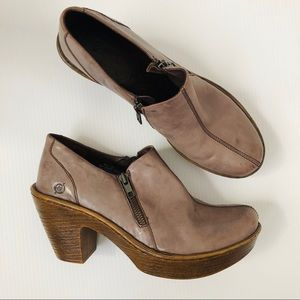 BORN Famke Brown Clog Ankle Bootie